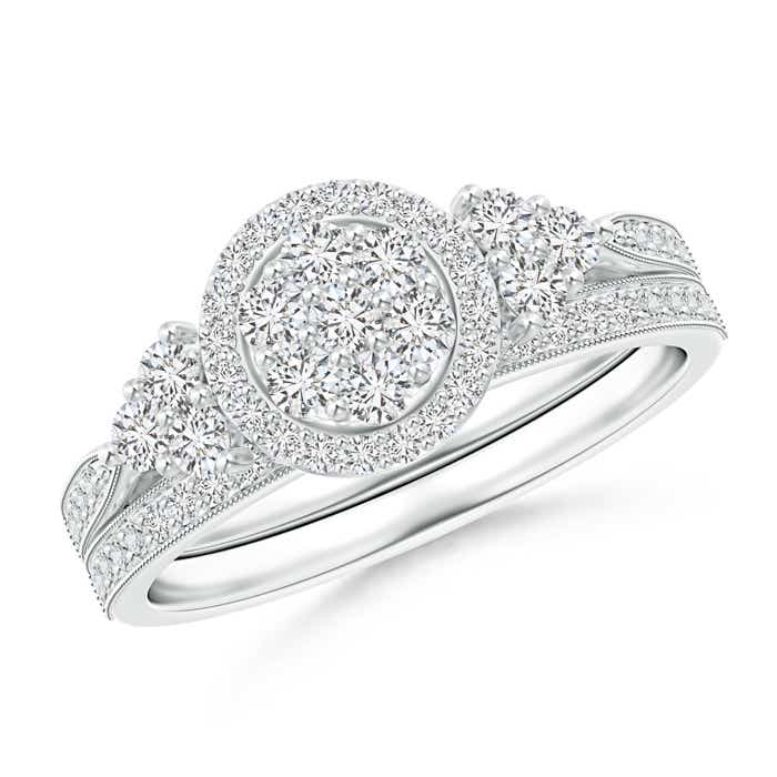 Angara Diamond Bypass Bridal Ring Set in 18k White Gold 5ew3c3h1