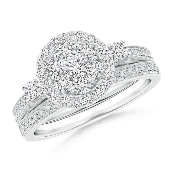 Angara Round Diamond Cluster Halo Bridal Set nGCLP