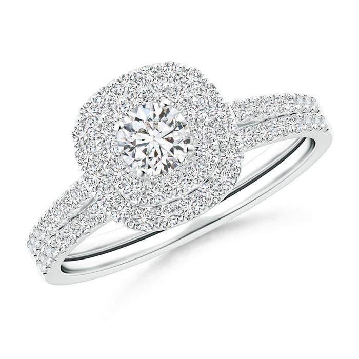 Angara Triple-Shank Cushion Framed Round Diamond Halo Bridal Set RQ4ECcqP