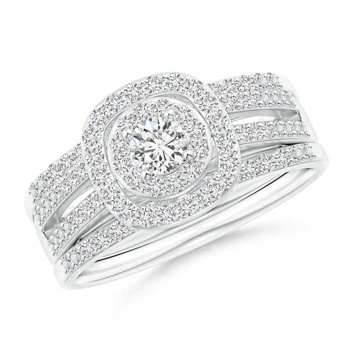 Angara Triple-Shank Cushion Framed Round Diamond Halo Bridal Set