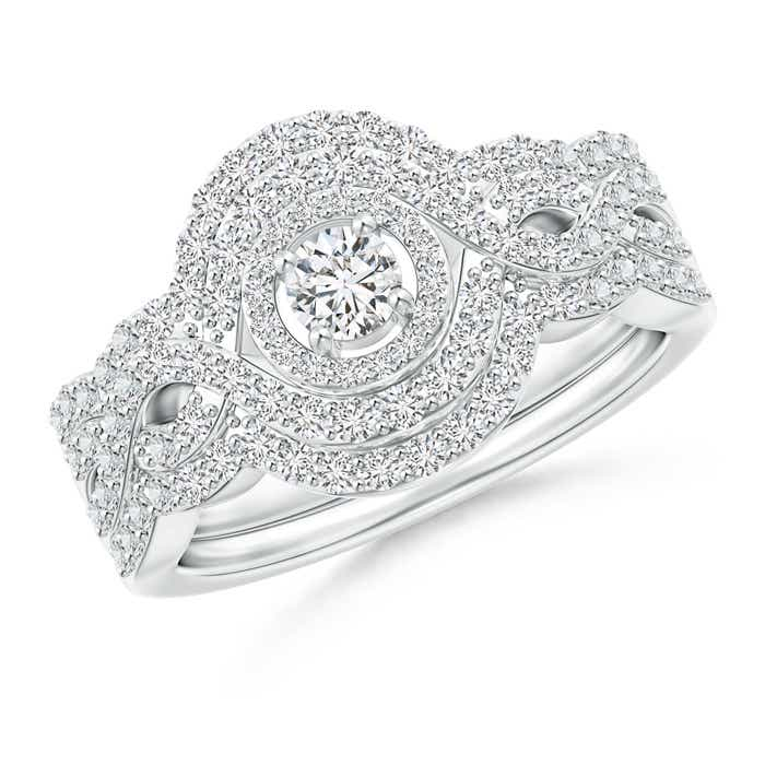 Angara Triple-Row Diamond Classic Three Stone Bridal Ring Set