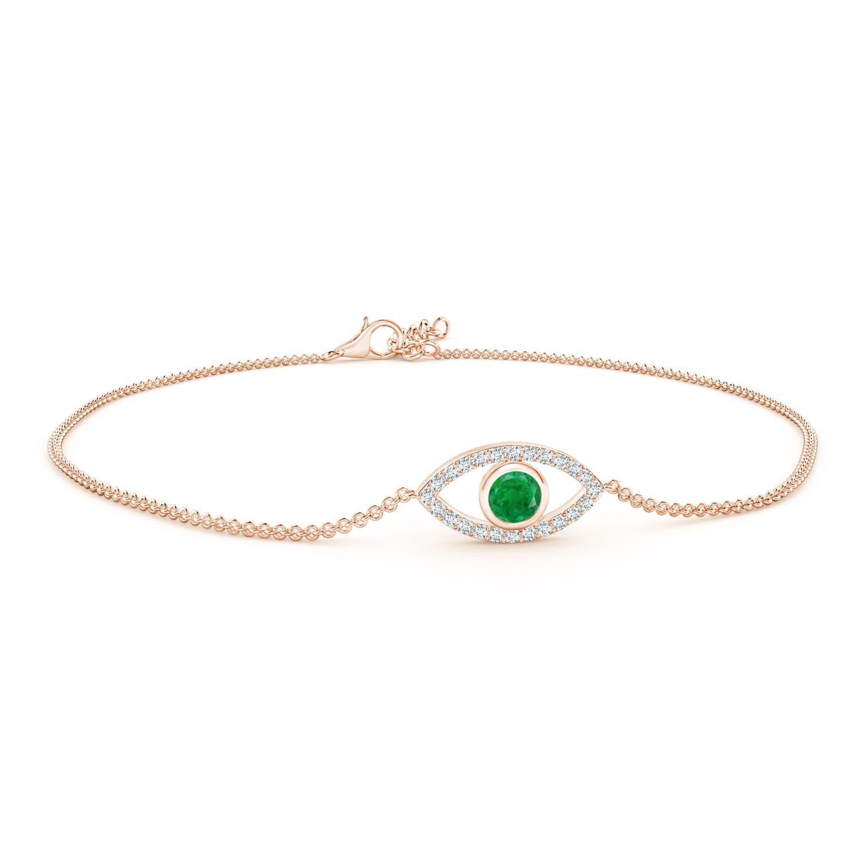 Bezel-Set Emerald and Diamond Evil Eye Bracelet