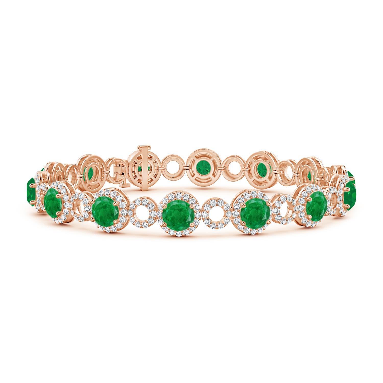 Emerald and Diamond Open Circle Bracelet