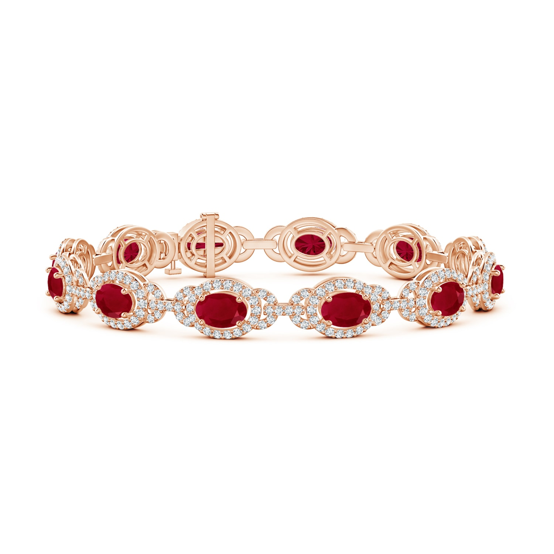 Oval Ruby and Diamond Link Bracelet