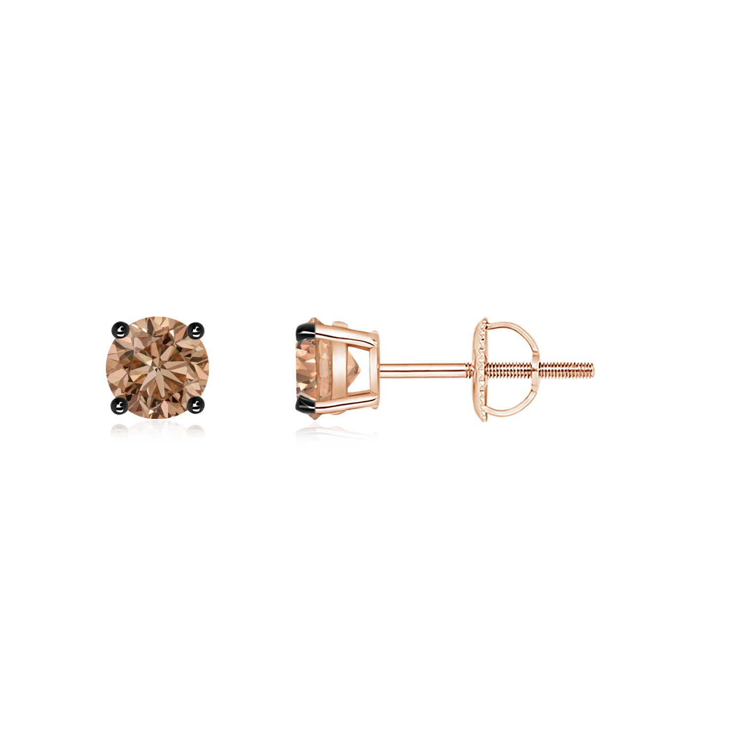 Basket Set Round Brown Diamond Studs Angara