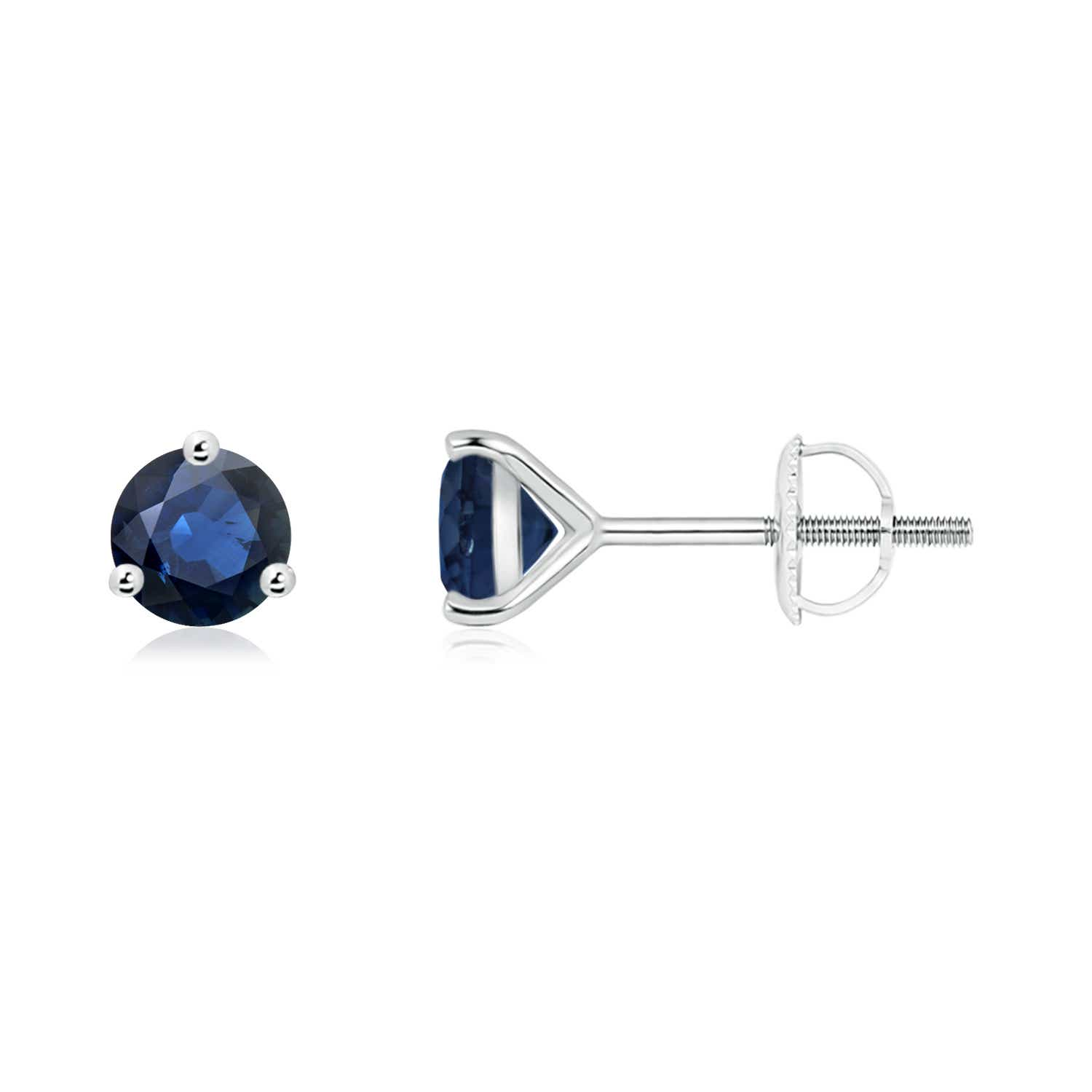 Angara 5mm Blue Sapphire Stud Earrings in 14k Rose Gold 3PR2uW8DW