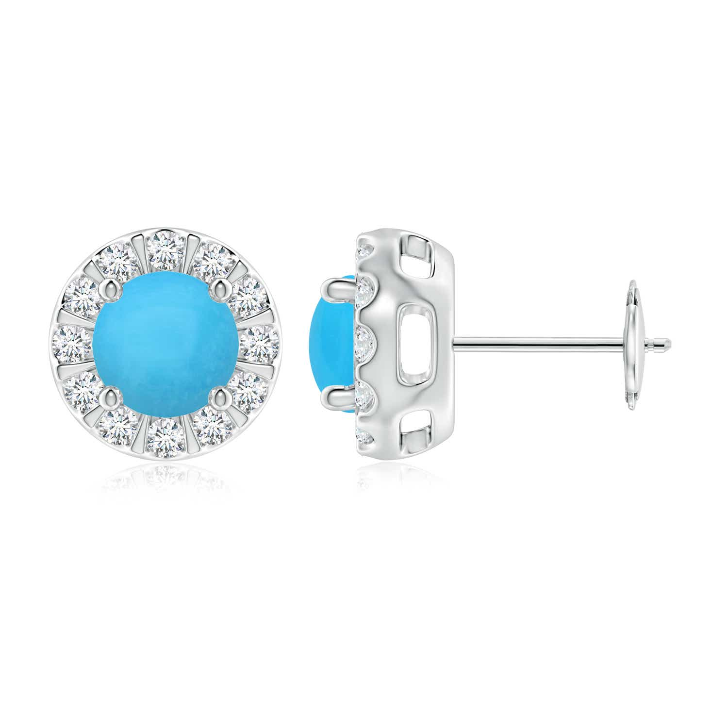 Turquoise Stud Earrings With Bar Set Diamond Halo