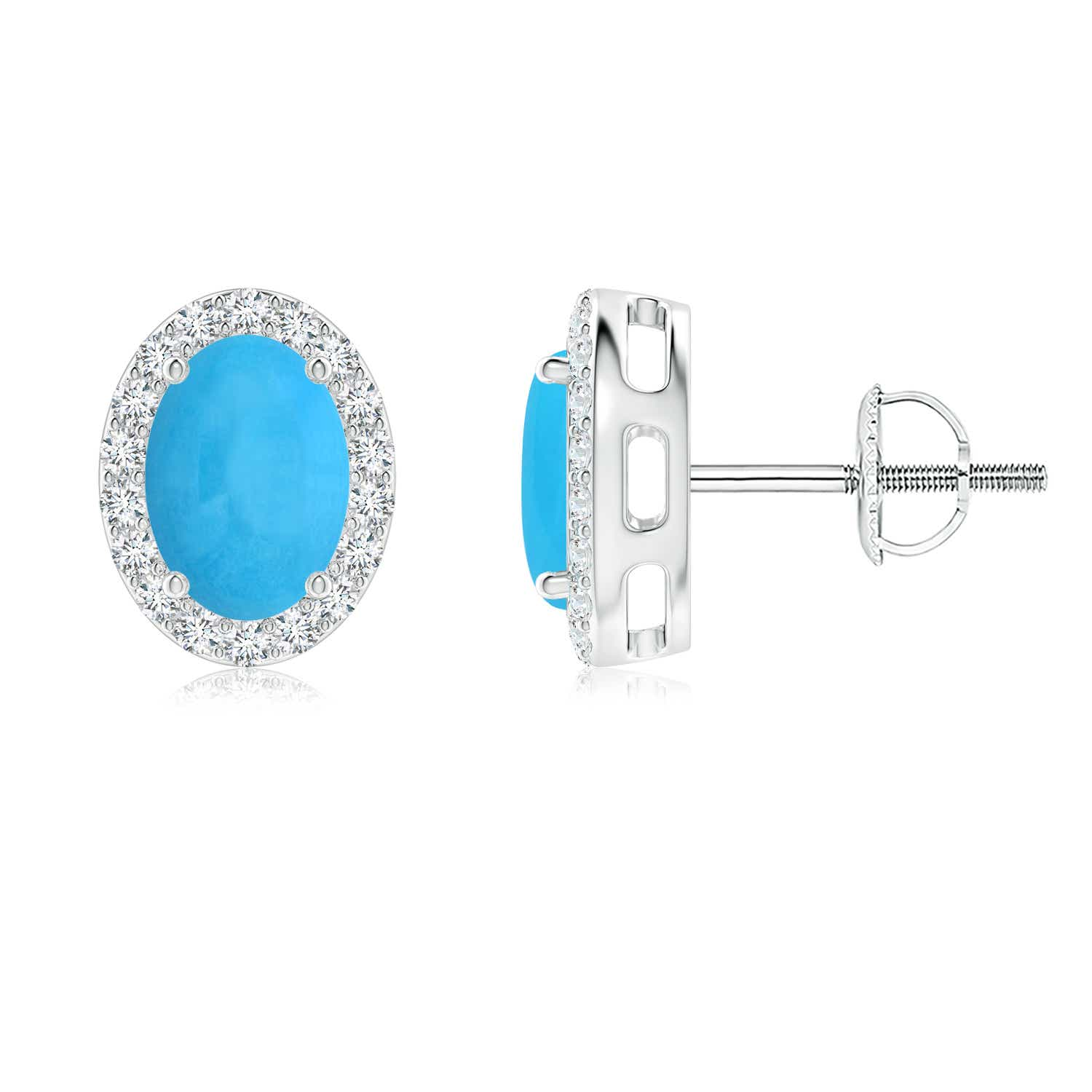 Oval Turquoise Studs With Diamond Halo