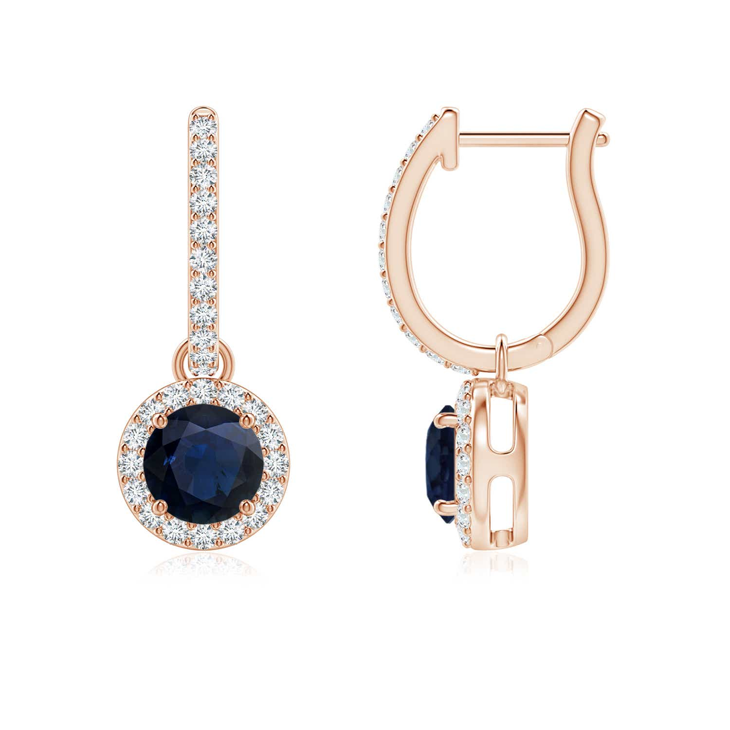1.4ct Natural Blue Sapphire Diamond Dangle Earrings 14k ...