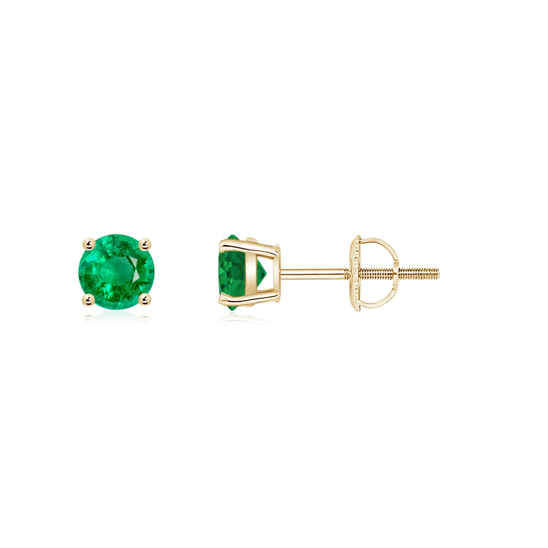 75546e9a2 Round Emerald Stud Earrings | Angara
