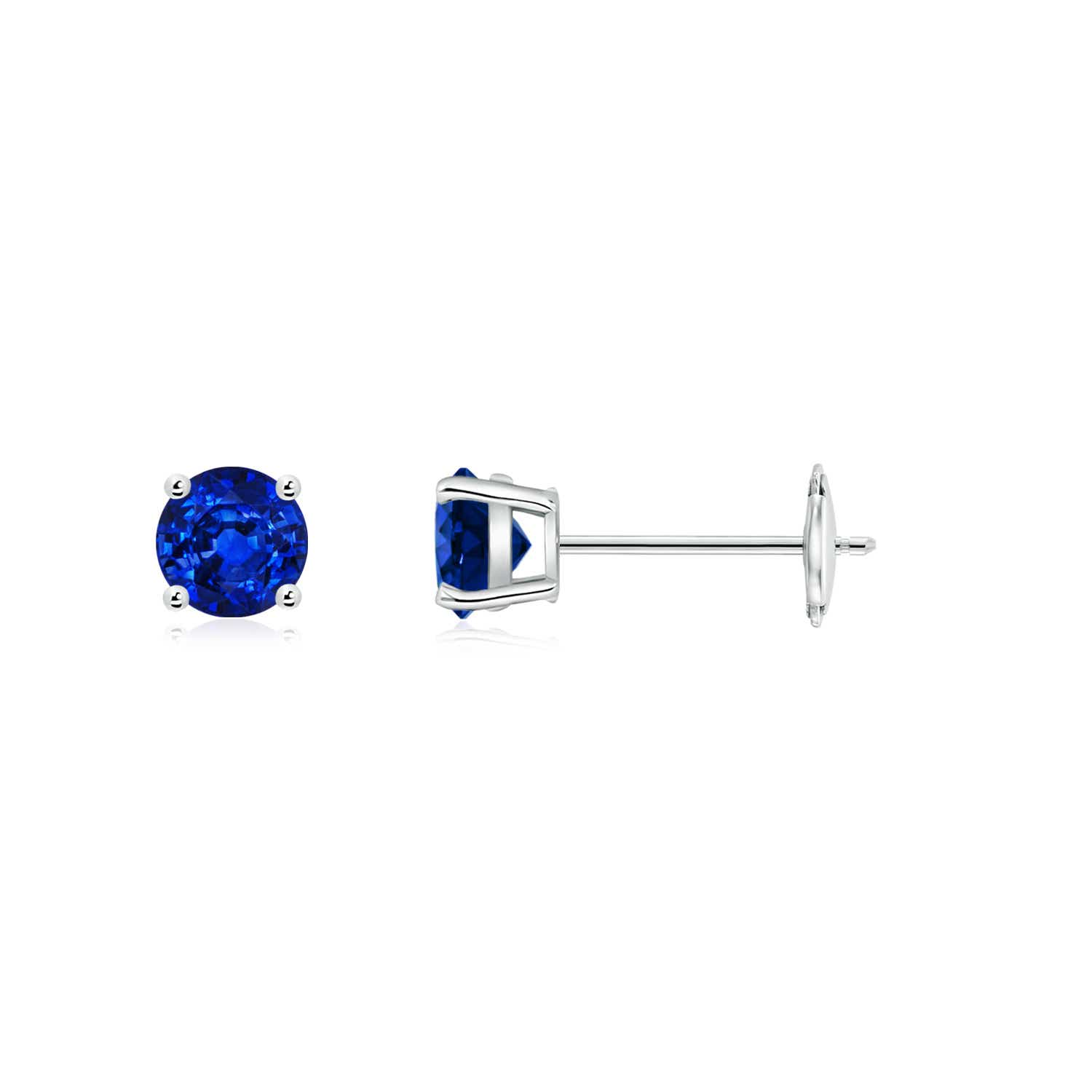 06af87248 Round Blue Sapphire Stud Earrings