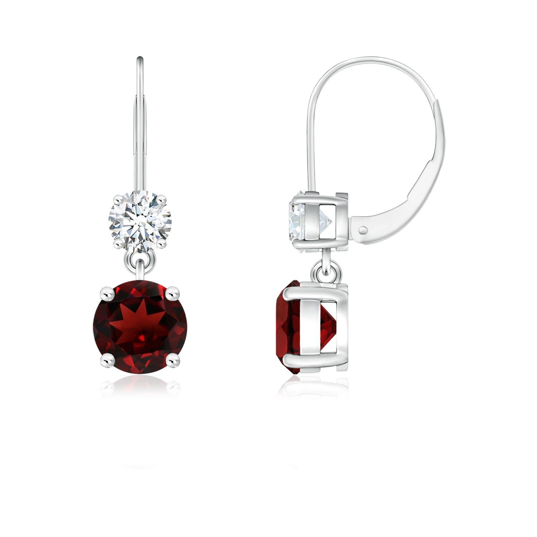 4ee49b724f62b Round Garnet Leverback Dangle Earrings with Diamond