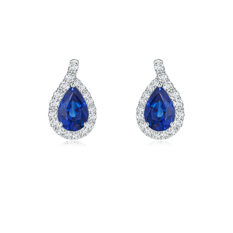 4251e6d0b2a8dc Pear Blue Sapphire Earrings with Diamond Swirl Frame