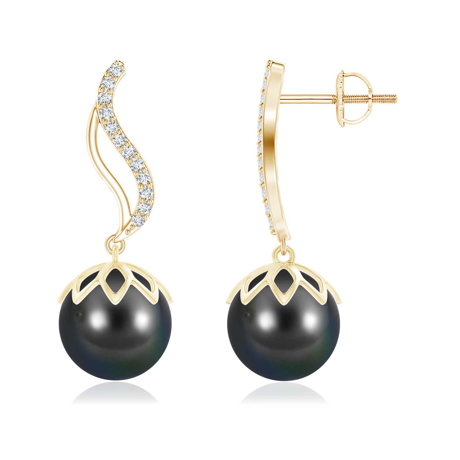 10mm-Tahitian-Cultured-Pearl-Diamond-Flame-Earrings-14K-White-Gold-Silver