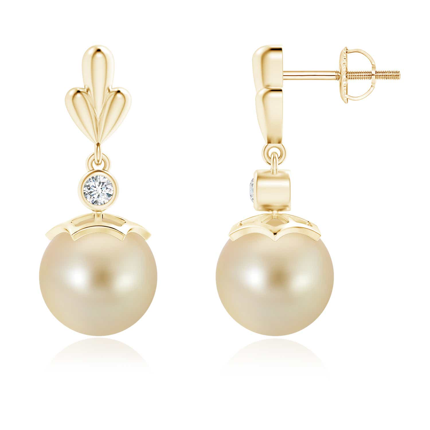 Angara Golden South Sea Cultured Pearl Earrings with Pear Motifs BbFZuY2uy