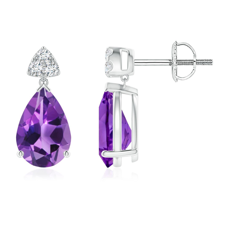 d199f2ff3 Pear-Shaped Amethyst Drop Earrings with Trio Diamonds