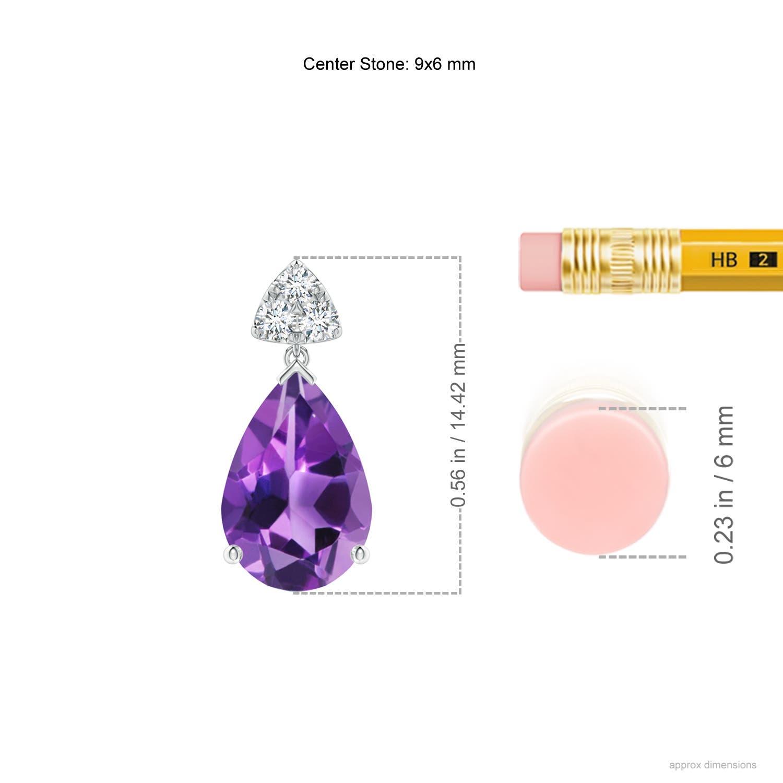 77f9e0a7a Pear-Shaped Amethyst Drop Earrings with Trio Diamonds - Ruler