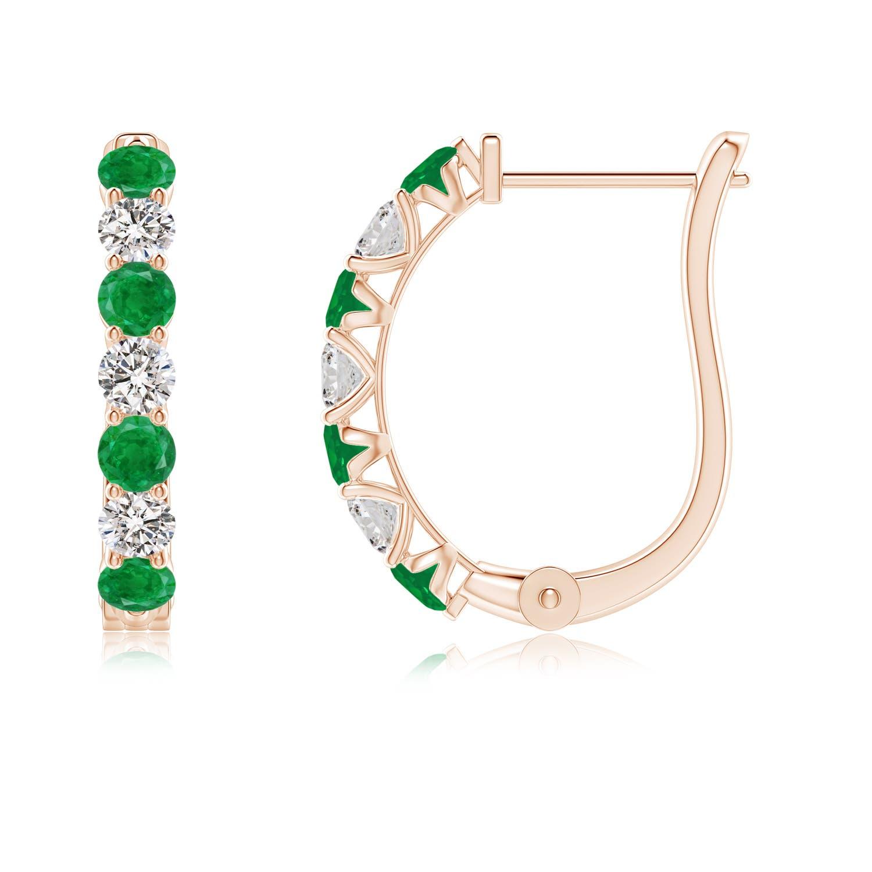 Emerald and Diamond Huggie Hoop Earrings