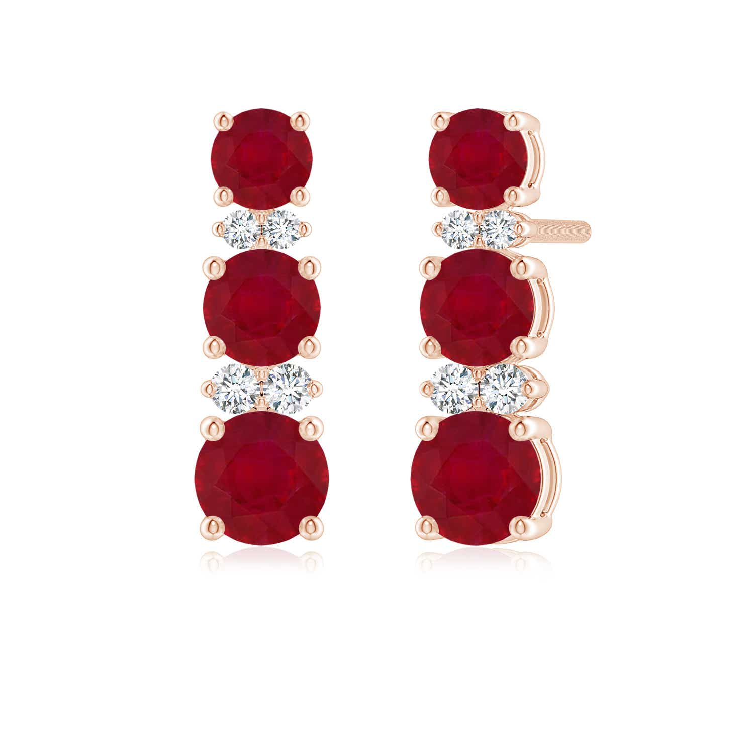 Graduated Ruby and Diamond Journey Earrings