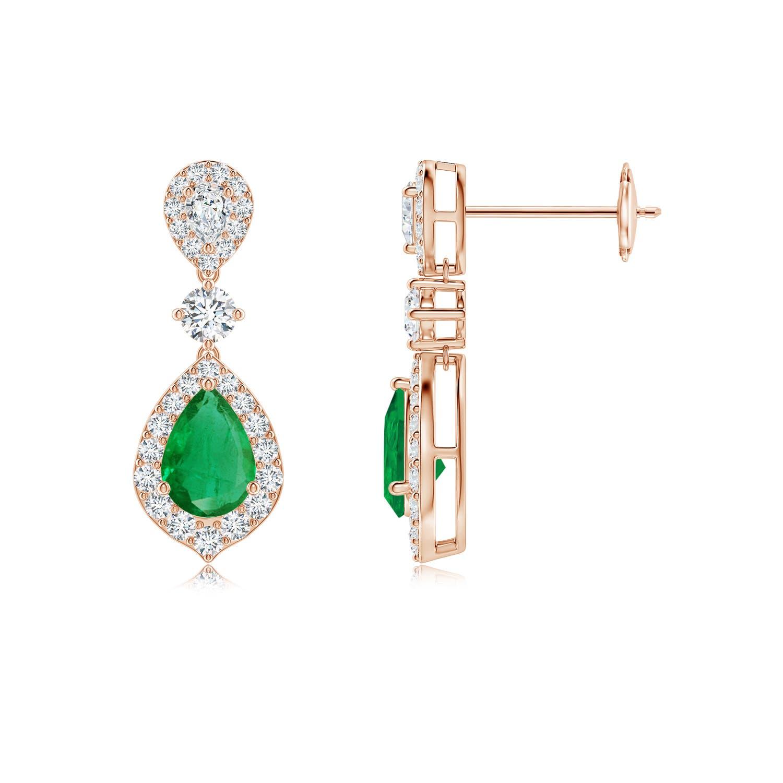 Emerald and Diamond Halo Teardrop Earrings