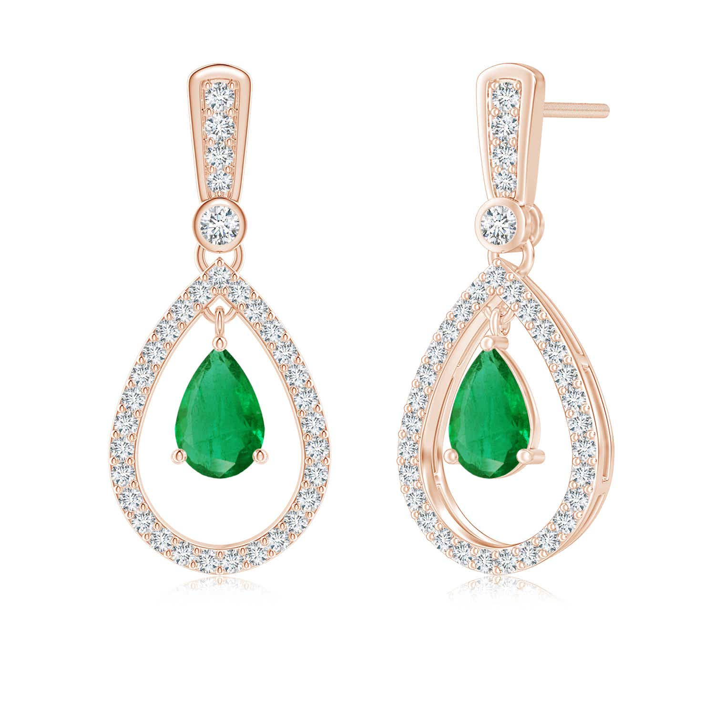 Floating Emerald and Diamond Halo Teardrop Earrings