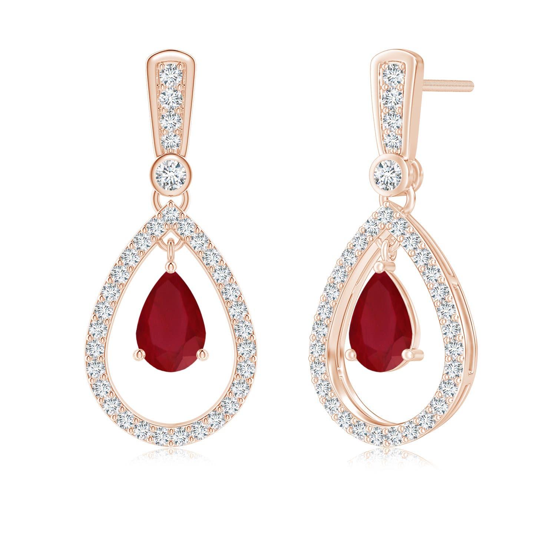 Floating Ruby and Diamond Halo Teardrop Earrings