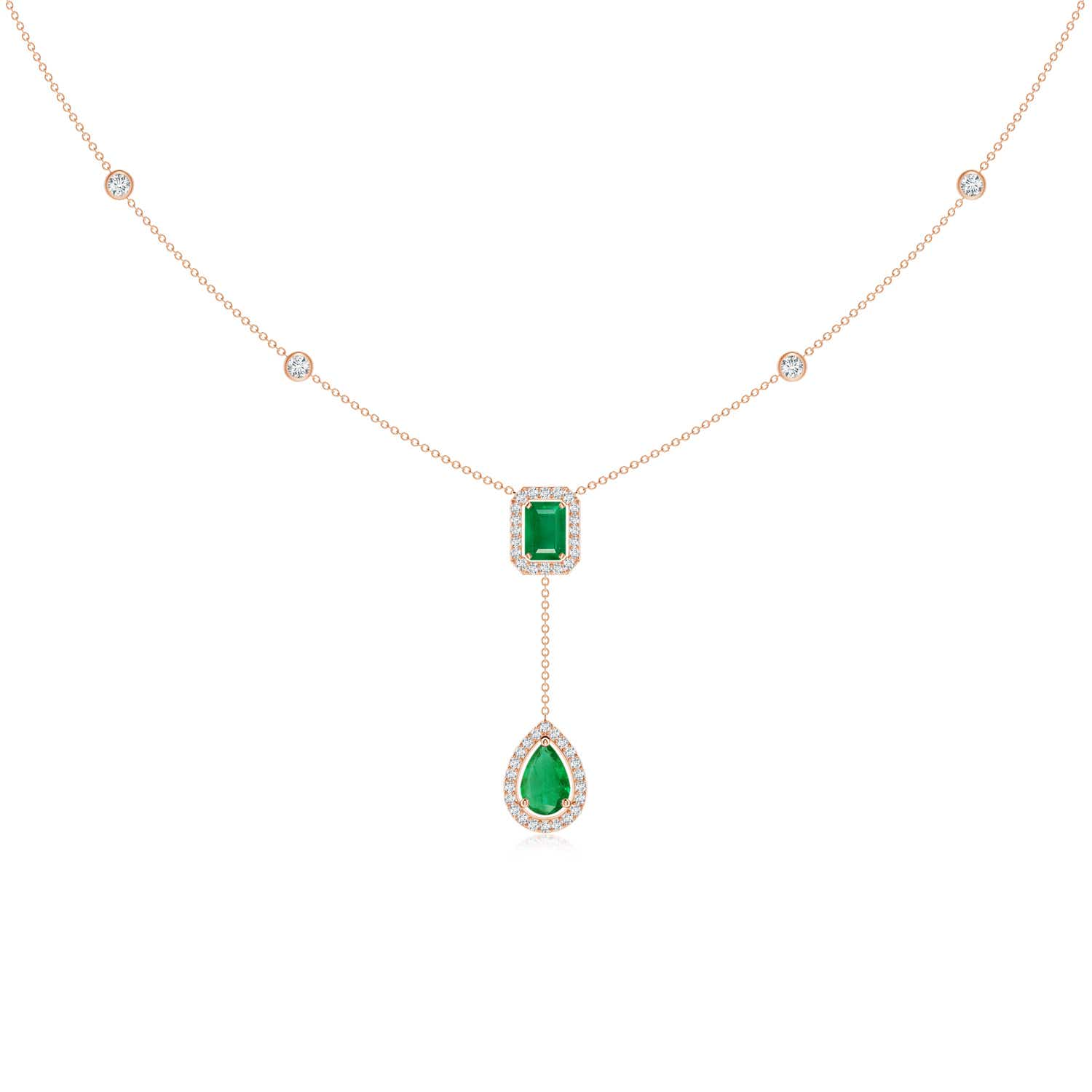 Emerald-Cut & Pear-Shaped Emerald Tie Necklace with Diamond