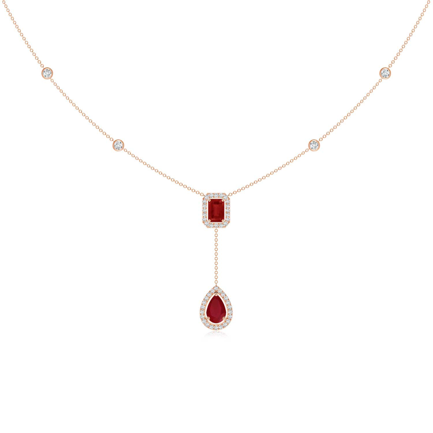 Emerald-Cut & Pear-Shaped Ruby Tie Necklace with Diamond