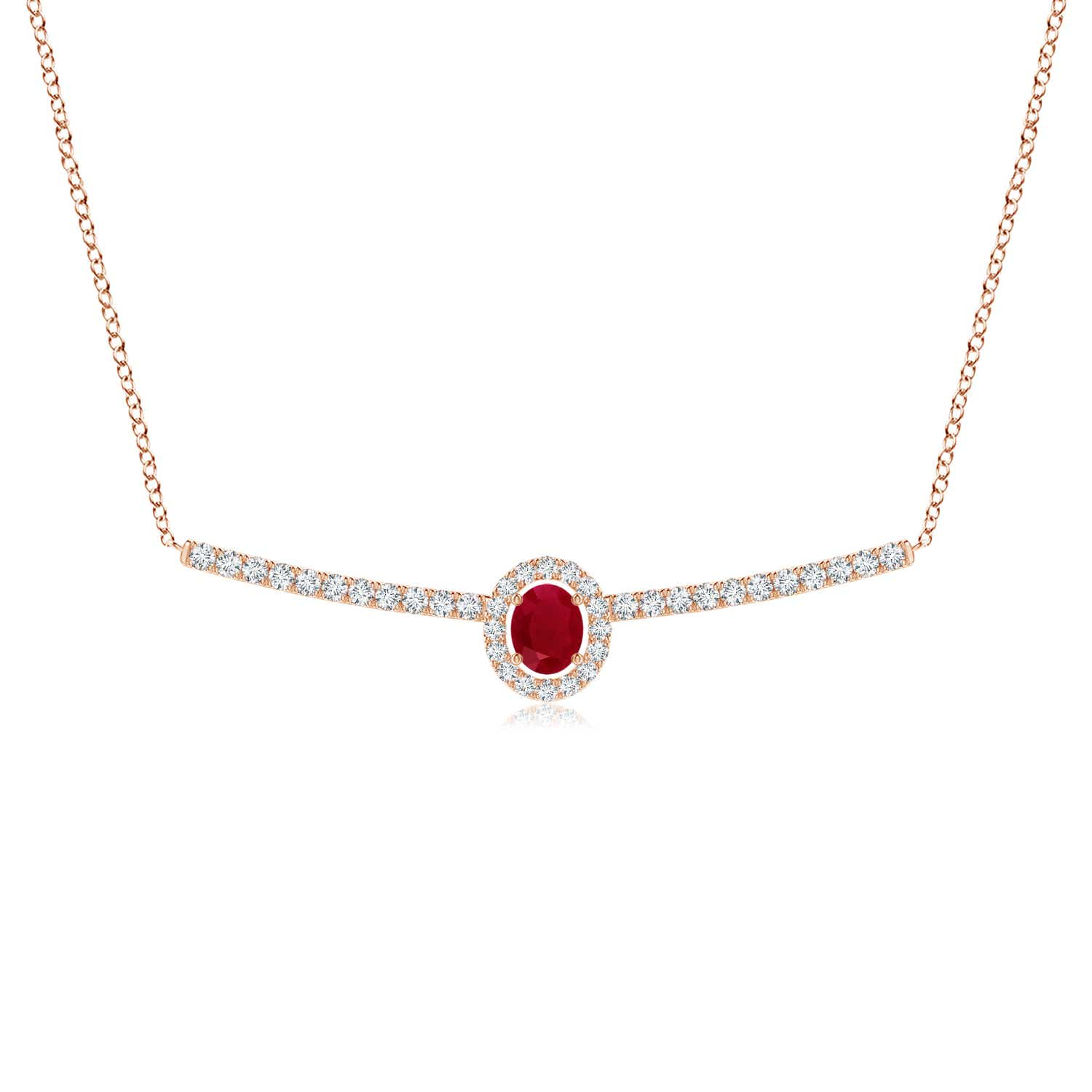 Oval Ruby and Round Diamond Halo Necklace