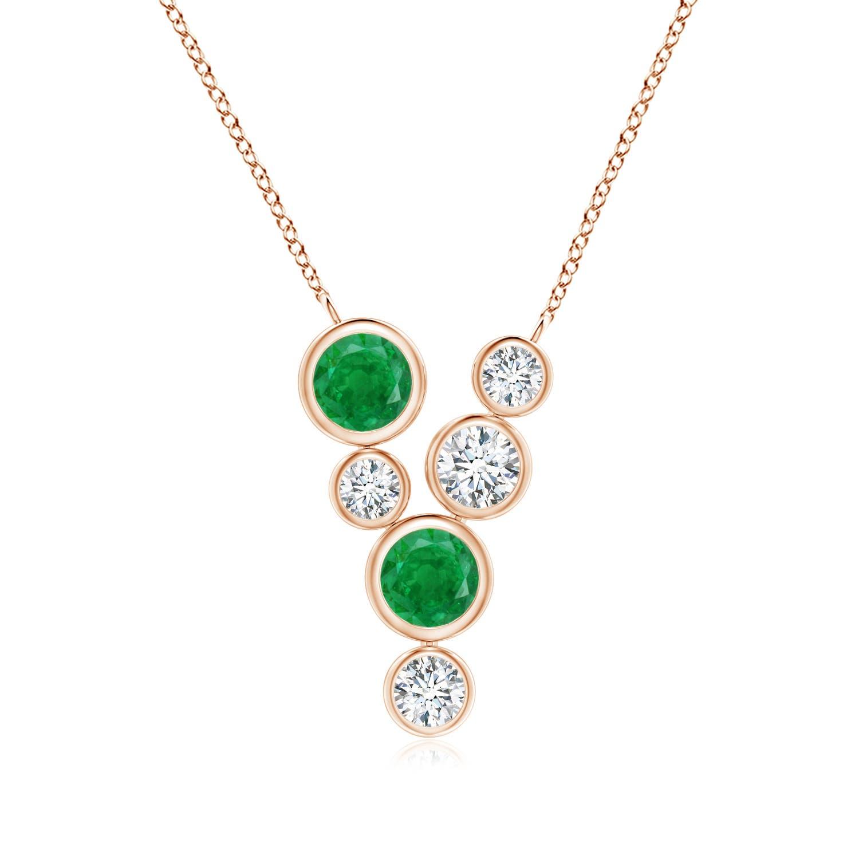 Bezel-Set Scattered Emerald and Diamond Necklace