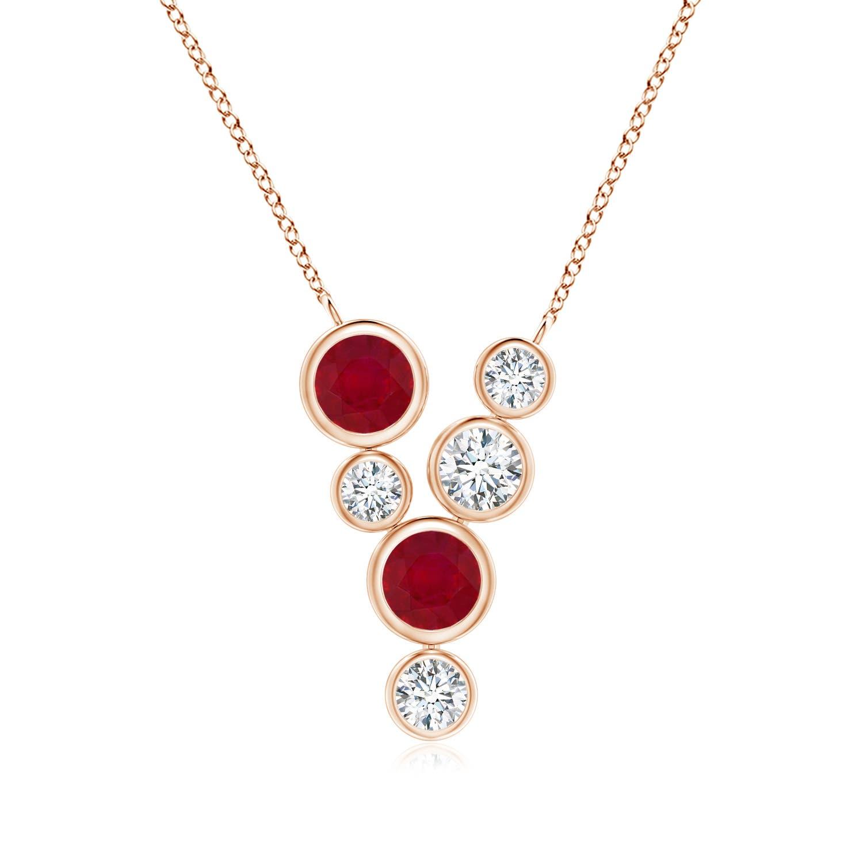 Bezel-Set Scattered Ruby and Diamond Necklace