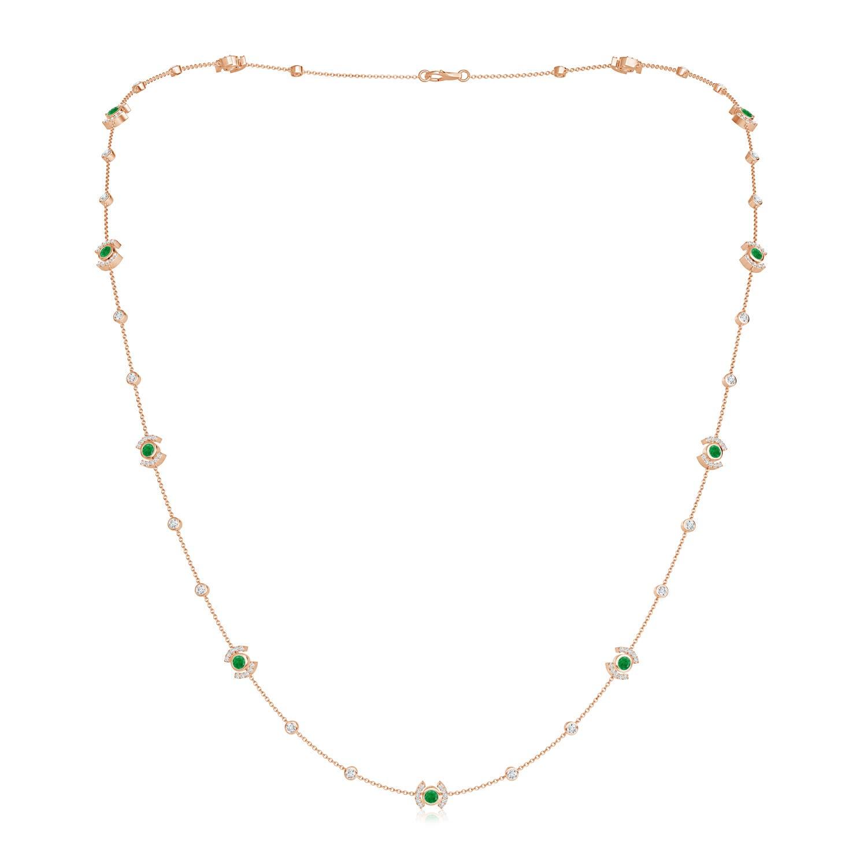 Bezel-Set Emerald and Diamond Station Necklace