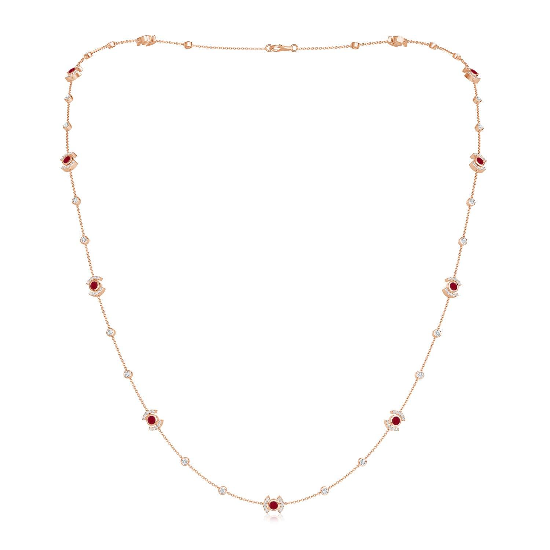 Bezel-Set Ruby and Diamond Station Necklace