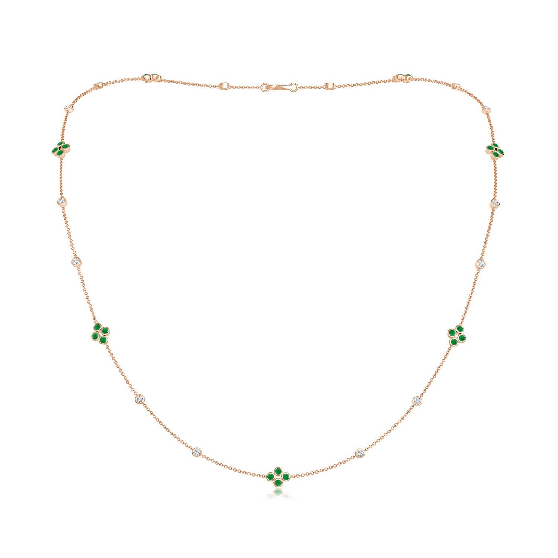 Bezel-Set Round Emerald and Diamond Long Station Necklace