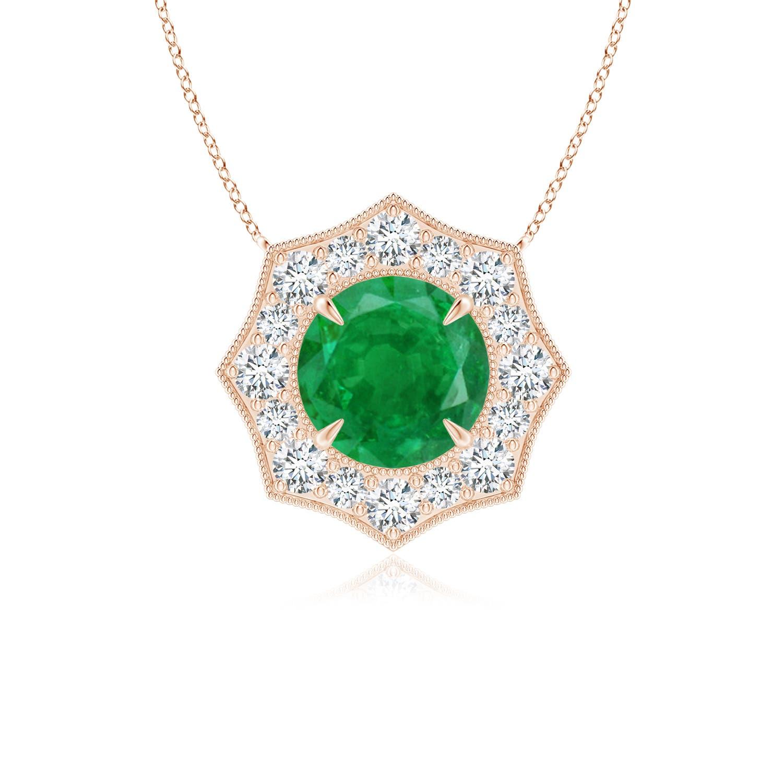 Emerald Pointed Diamond Halo Pendant with Milgrain