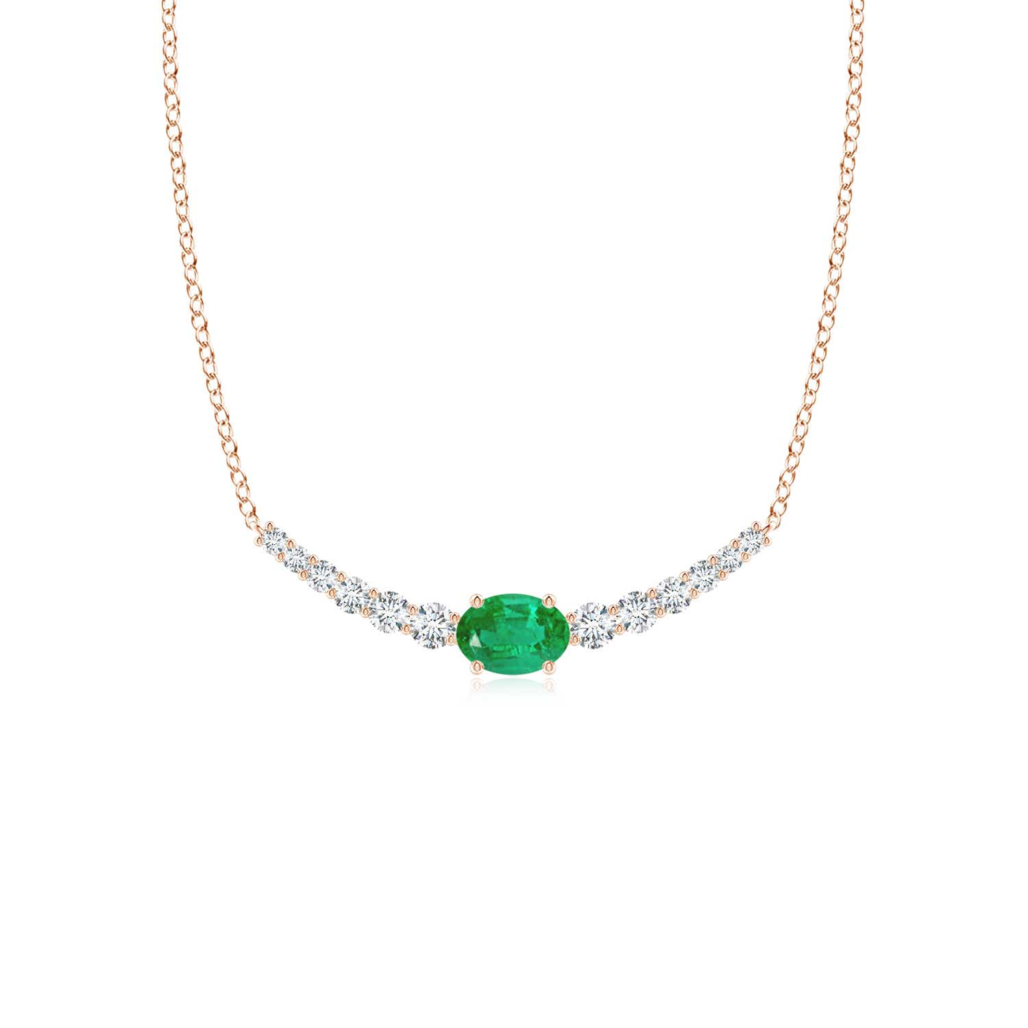 East-West Oval Emerald Curved Bar Necklace with Diamonds