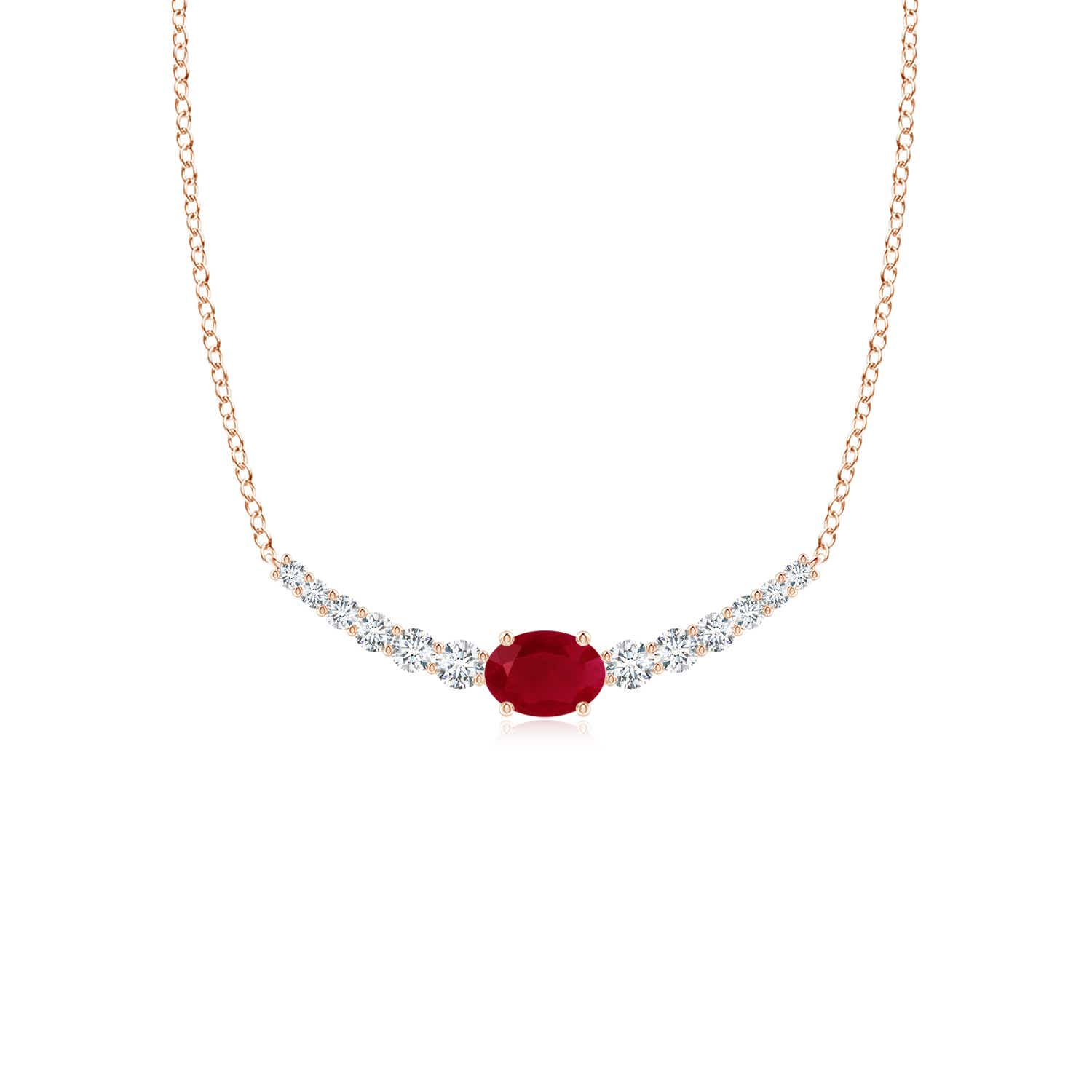 East-West Oval Ruby Curved Bar Necklace with Diamonds