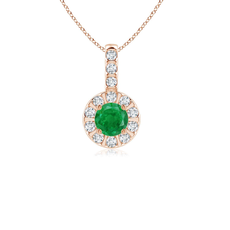 Emerald Pendant with Bar-Set Diamond Halo