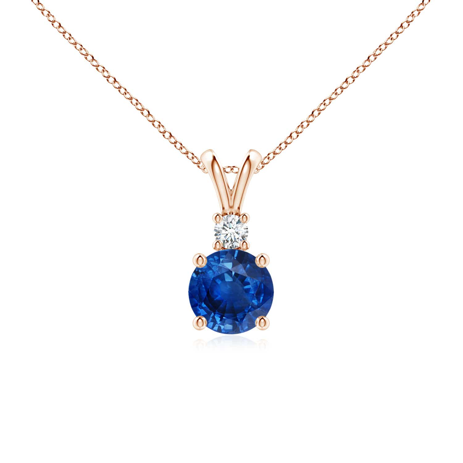 Angara Blue Sapphire Solitaire Necklace in White Gold pvgeA
