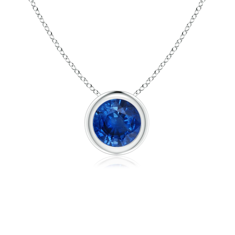 9c2cdee1f0f12 Bezel-Set Round Blue Sapphire Solitaire Pendant