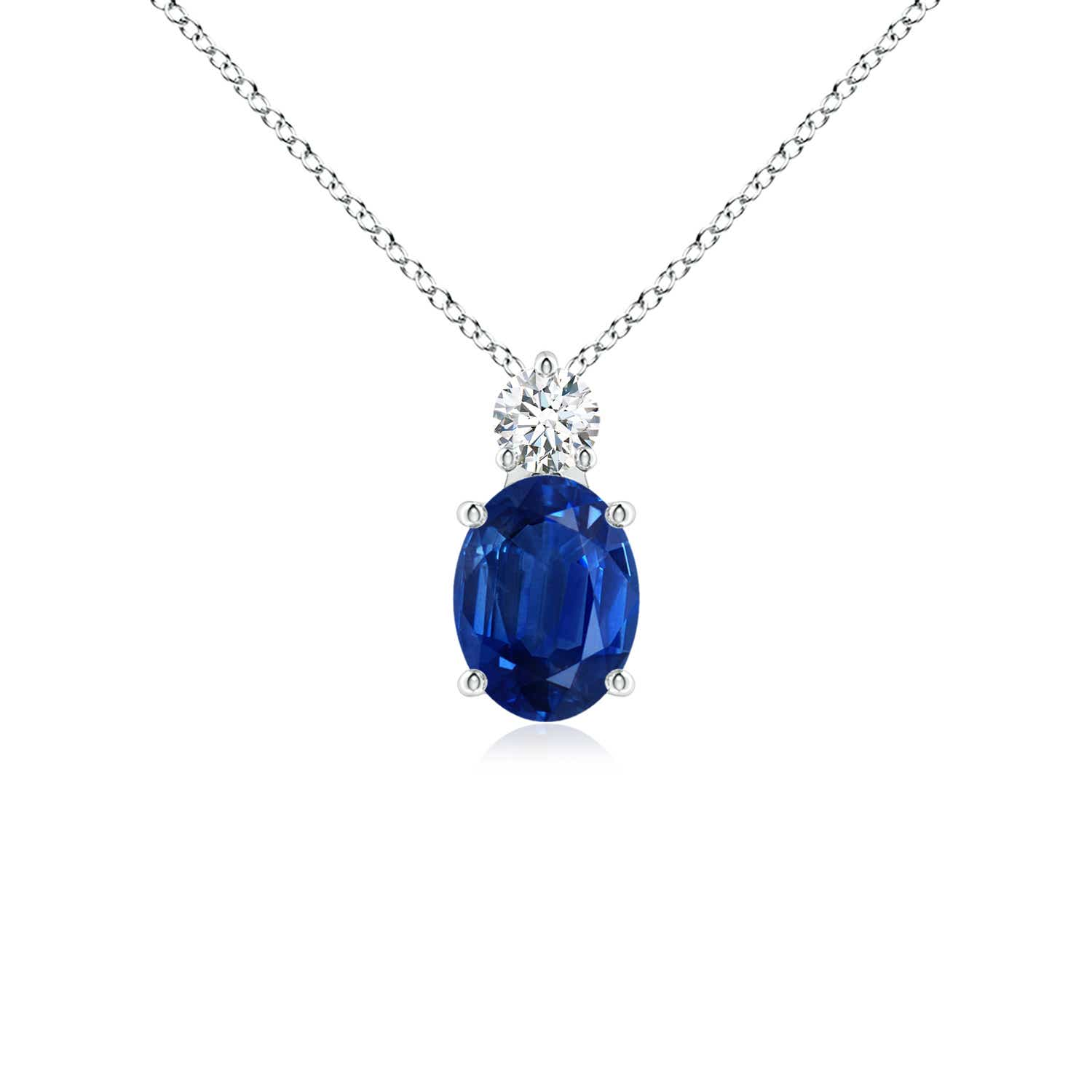 Oval Sapphire Solitaire Pendant With Diamond