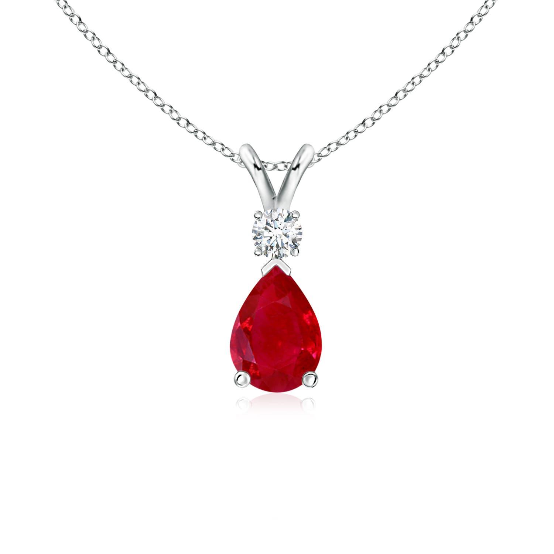 Ruby Teardrop Pendant with Diamond