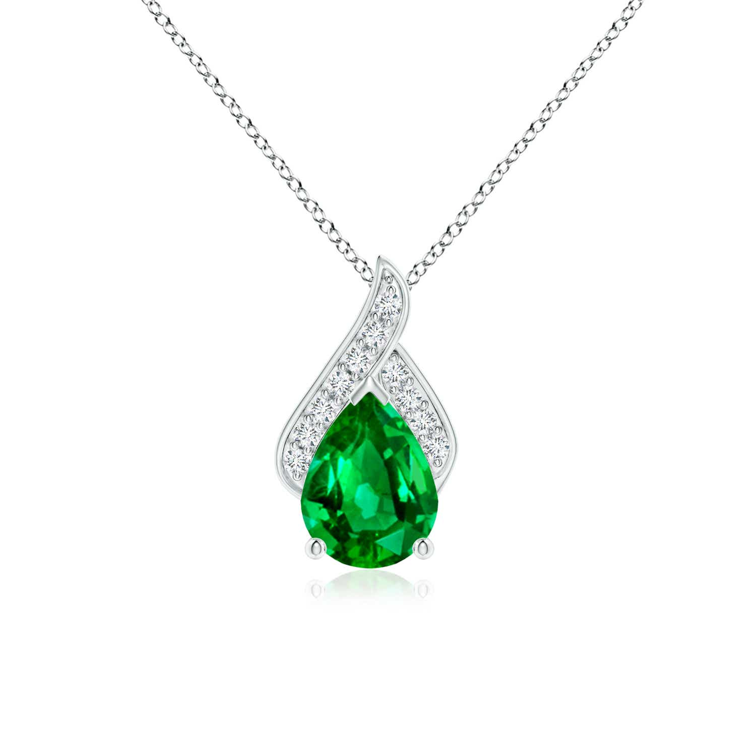 dcdf0e634 Solitaire Pear-Shaped Emerald Flame Pendant | Angara