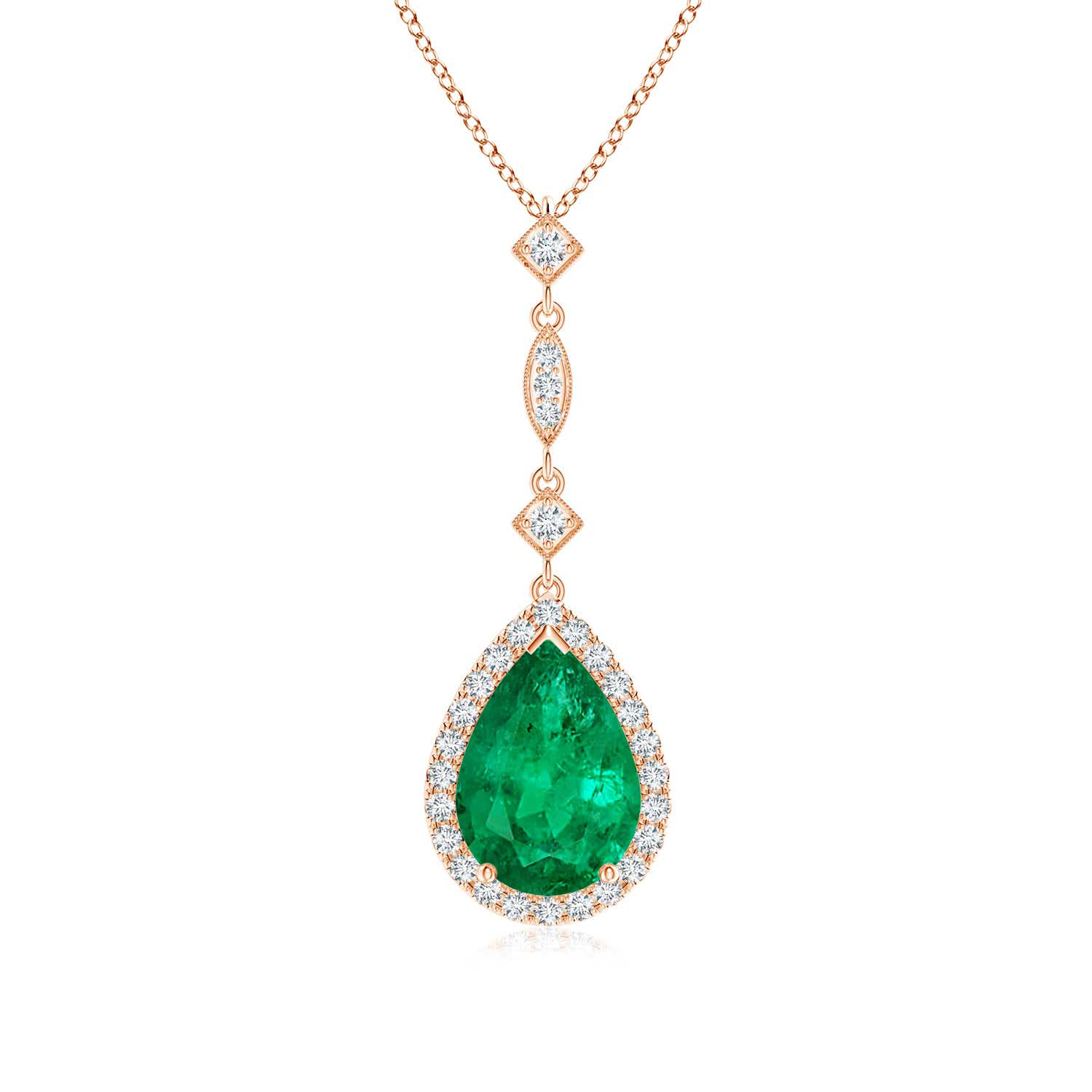 GIA Certified Emerald Teardrop Pendant with Diamond Accents