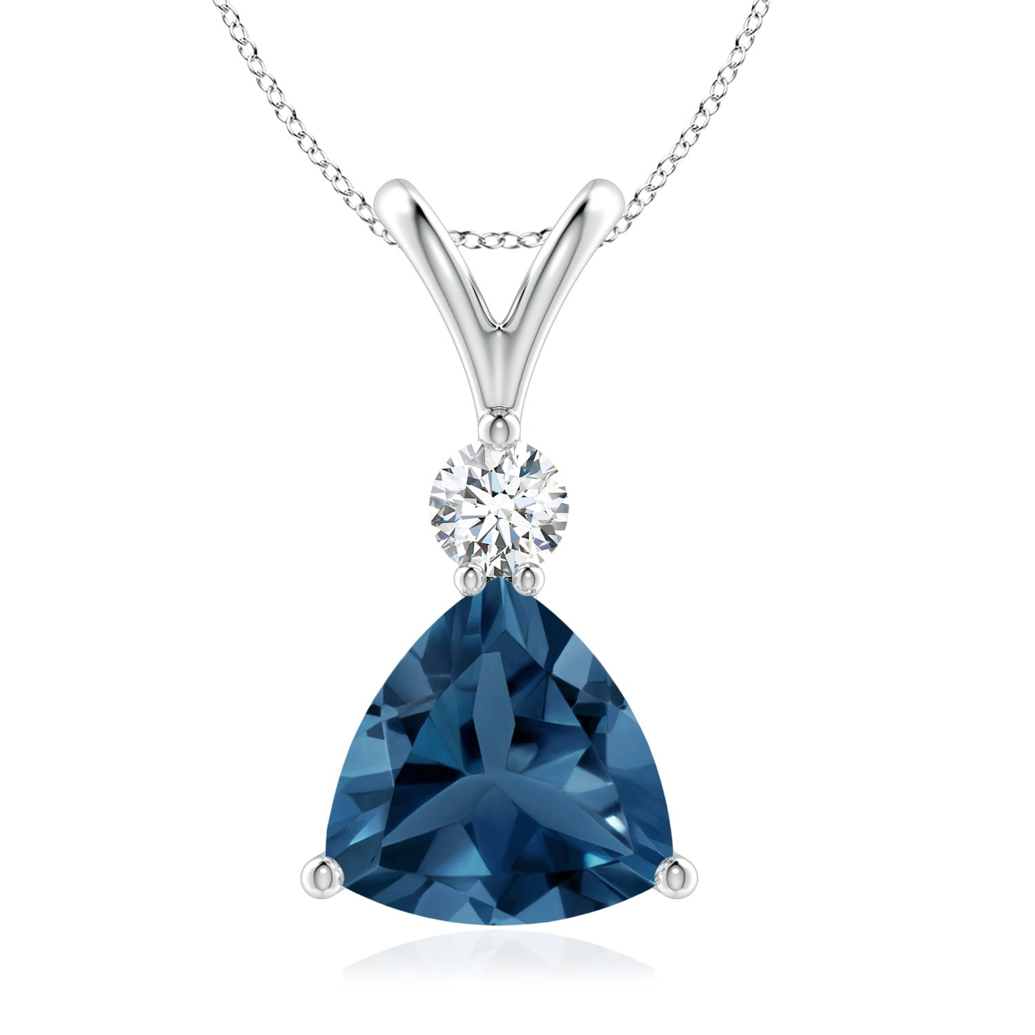 Lovely 14k Trillion Shaped Blue Topaz and Diamond Necklace with 18 Chain Weighing 2.3 grams