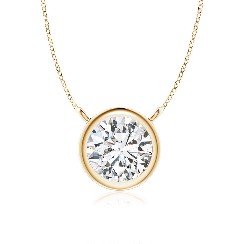 Bezel Set Round Diamond Solitaire Necklace Angara