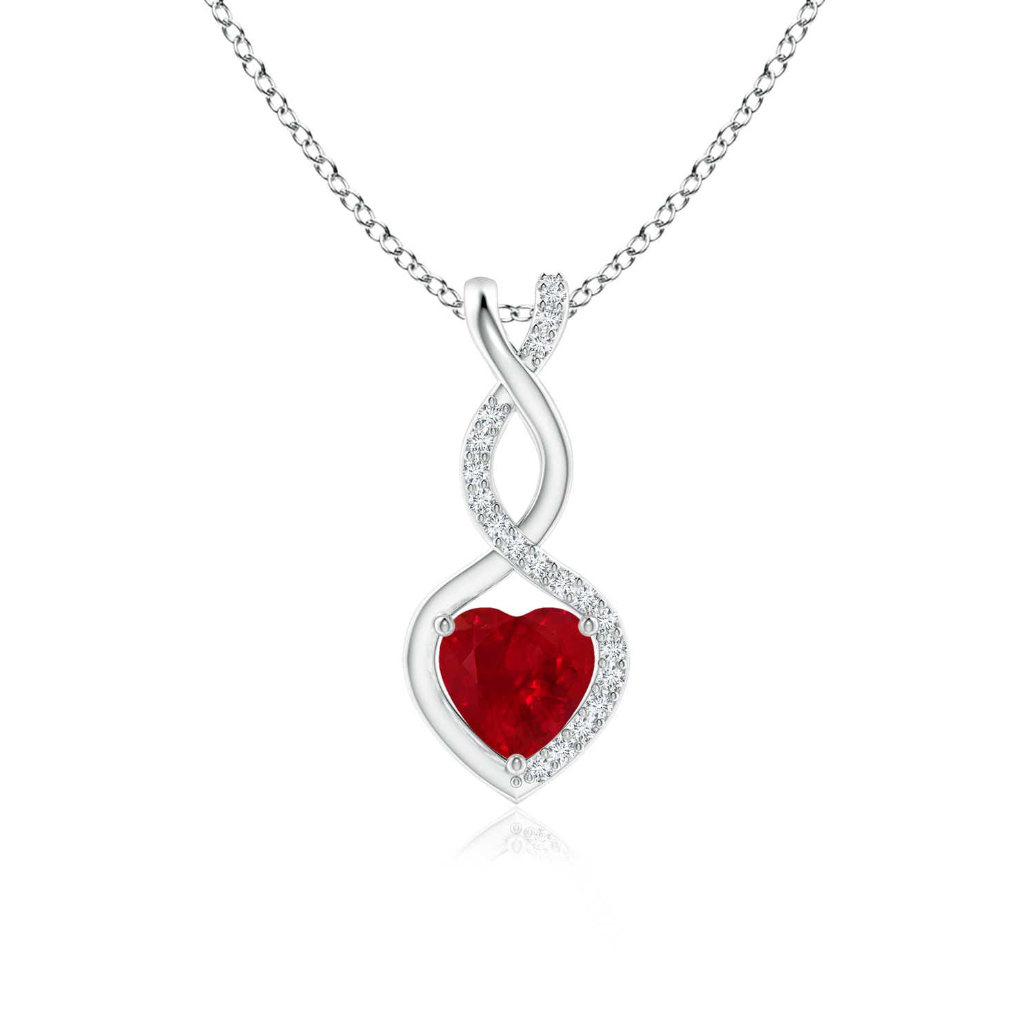 Natural ruby diamond heart pendant necklace 18 chain silver 14k natural ruby diamond heart pendant necklace 18 034 aloadofball Images
