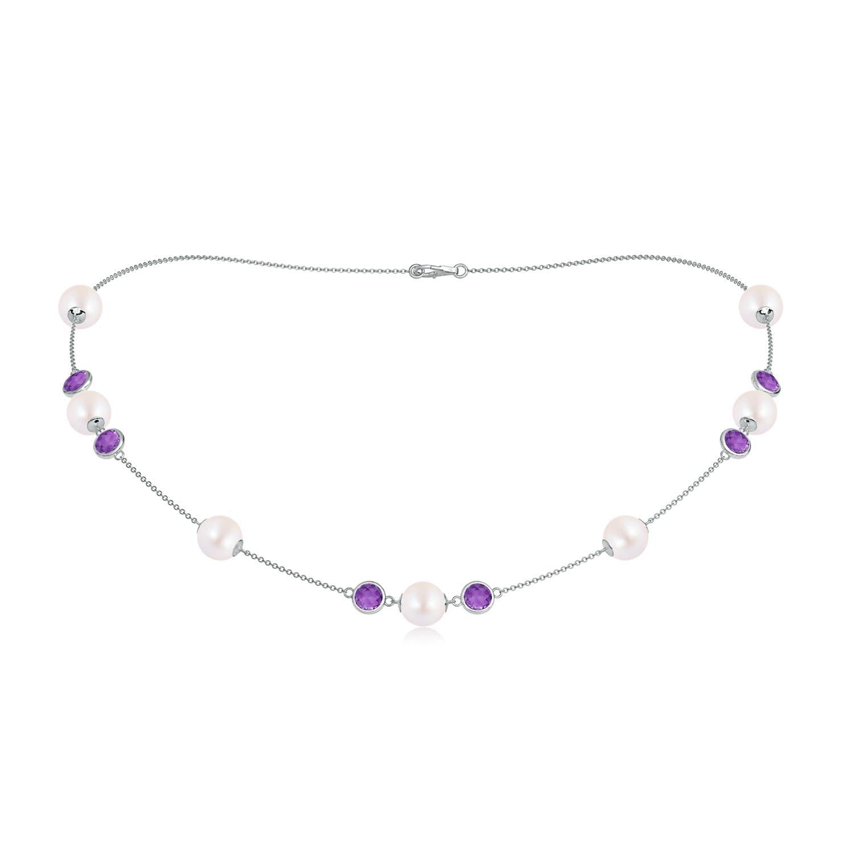 16 Akoya Cultured Pearl & Amethyst Station Necklace