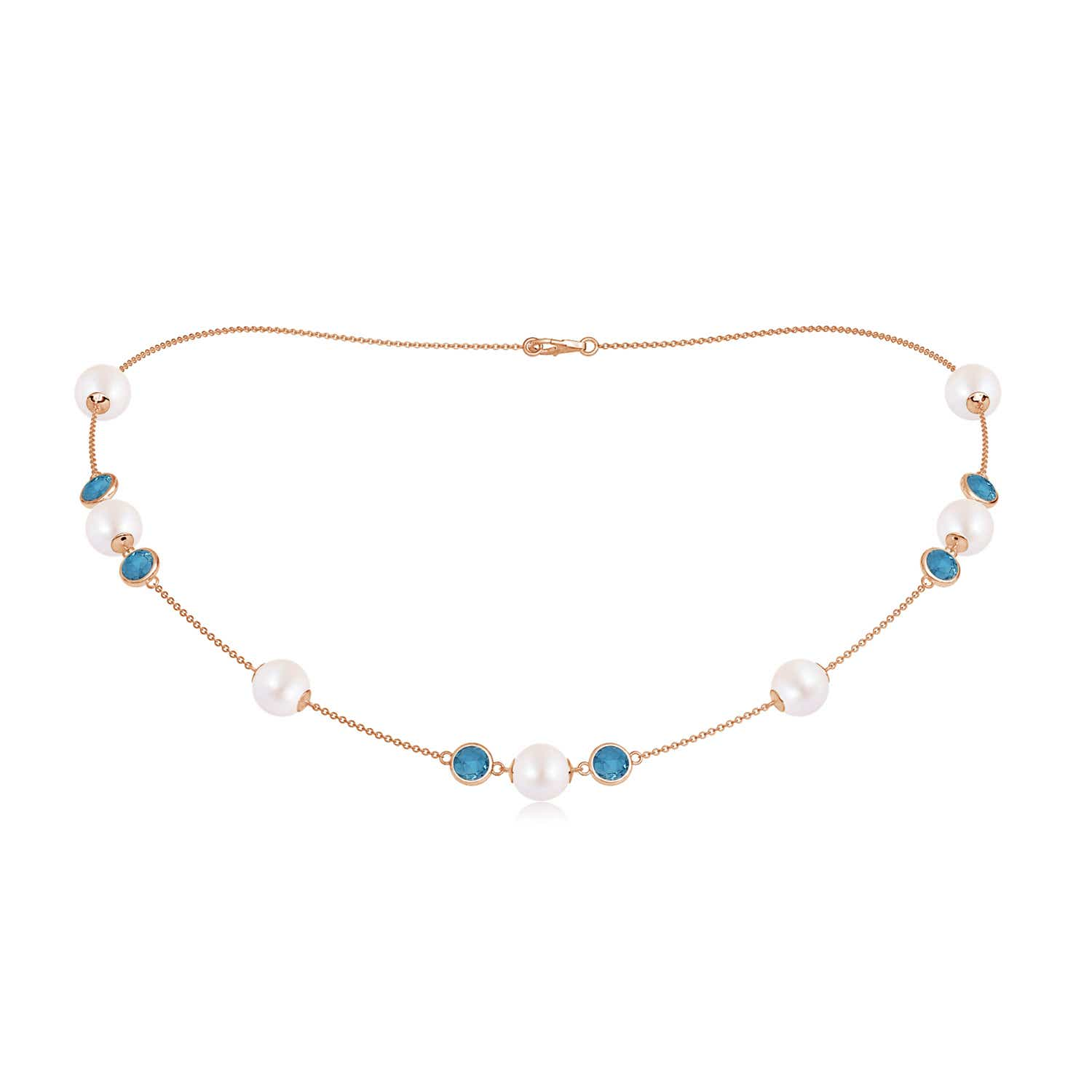 16 Akoya Cultured Pearl & London Blue Topaz Station Necklace
