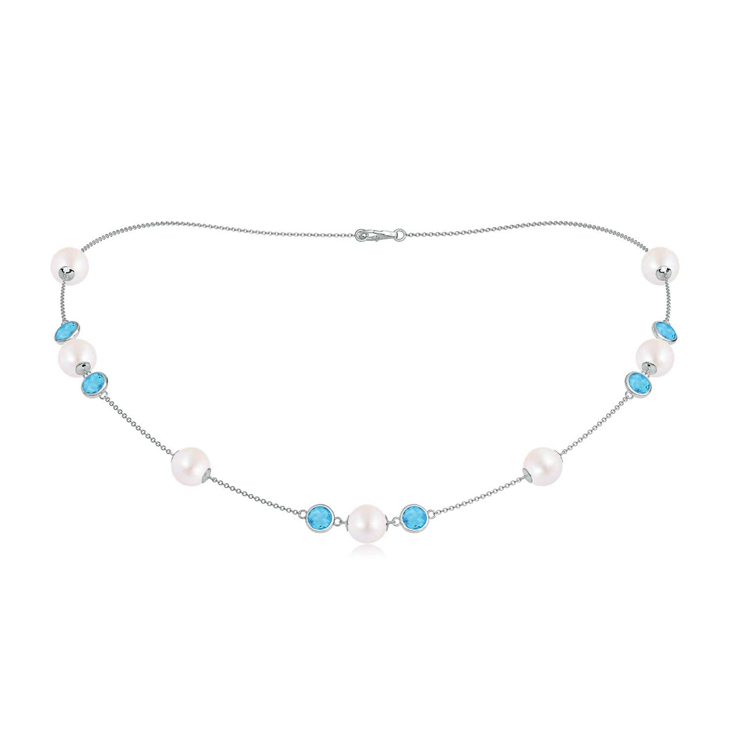 16 Akoya Cultured Pearl & Swiss Blue Topaz Station Necklace